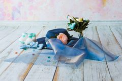 Accessories for future mom awaiting for baby boy blue hat knitte Stock Photos