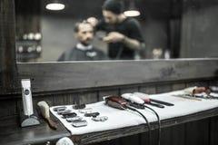 Accessories of hairdresser in barbershop stock photo