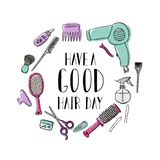 Accessories for the hairdresser s. Motivational quote Have a good hair day. Lettering vector illustration