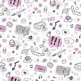 Accessories. Hand drawn seamless pattern. Stock Images