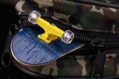 Accessories, handbag for fingerboard. Close-up Royalty Free Stock Photo