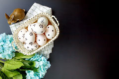 Accessories Happy Easter background.beautiful easter eg. Top view accessories Happy Easter background.beautiful easter eggs painted on basket.Texture rustic Royalty Free Stock Photography