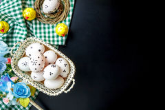 Accessories Happy Easter background.beautiful easter eg. Top view accessories Happy Easter background.beautiful easter eggs painted on basket.Texture rustic Royalty Free Stock Images