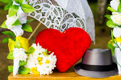 Accessories, heart swing and bouquet Royalty Free Stock Photo