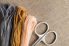 Accessories for hobbies: different colors of thread for embroidery Stock Images
