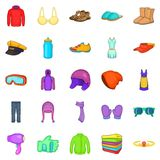 Accessories icons set, cartoon style. Accessories icons set. Cartoon set of 25 accessories icons for web isolated on white background Royalty Free Stock Photography