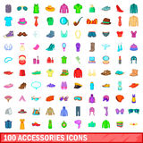 100 accessories icons set, cartoon style. 100 accessories icons set in cartoon style for any design vector illustration Royalty Free Stock Images