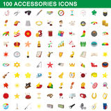 100 accessories icons set, cartoon style Stock Photography