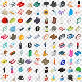 100 accessories icons set, isometric 3d style Stock Images
