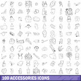 100 accessories icons set, outline style. 100 accessories icons set in outline style for any design vector illustration Royalty Free Stock Image
