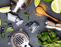 Accessories and ingredients for making mojito cocktail. Top view Stock Photography