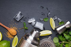 Accessories and ingredients for making mojito cocktail. Top view Stock Photos