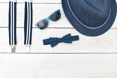 Accessories for a little gentleman. Flat lay. Accessories for a little gentleman. top view Royalty Free Stock Photo