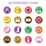 Accessories long shadow icons Royalty Free Stock Images