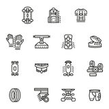 Accessories for longboards line icons set Stock Photography