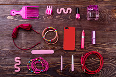 Accessories, make-up and phone. Stock Photo