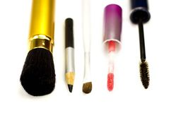 Accessories for make-up on a white background Royalty Free Stock Photo