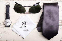 Accessories. Man's style, accessories on wooden table Royalty Free Stock Images