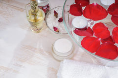 Accessories for manicure with hand bath Stock Images