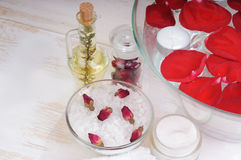 Accessories for manicure with hand bath Stock Photography