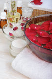 Accessories for manicure with hand bath Stock Image