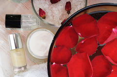 Accessories for manicure with hand bath Royalty Free Stock Photography