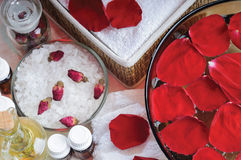 Accessories for manicure with hand bath Royalty Free Stock Images