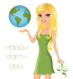 Blond girl with globe. Stock Images