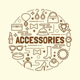Accessories minimal thin line icons set Royalty Free Stock Photography