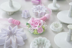 Accessories for needlework in container and tools for creating f Royalty Free Stock Image