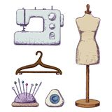 Accessories for needlework. Female tailors dummy, sewing machine, hanger, colorful sketch illustration of accessories for sewing. Vector Vector Illustration
