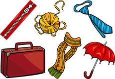 Accessories objects cartoon illustration set Royalty Free Stock Photography