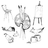 Accessories for painting. Royalty Free Stock Photos