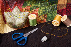 Accessories for patchwork on a quilt Royalty Free Stock Photography