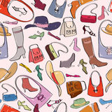 Accessories pattern. Fashion Hats, Bags and shoes background. Royalty Free Stock Photo