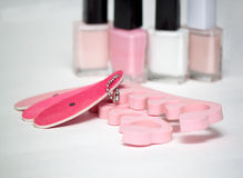 Accessories for pedicure, nail file and polish Royalty Free Stock Photo