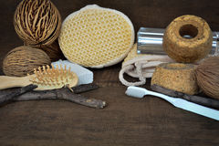 Accessories for peeling and spa 3. Peeling and spa in wood background Royalty Free Stock Images