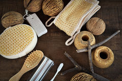 Accessories for peeling and spa 5. Peeling and spa in wood background Stock Photography