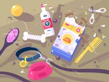 Accessories for pet care vector illustration