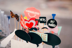 Accessories for photobooth. Wedding in Montenegro. Royalty Free Stock Photography