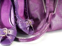 Accessories purpurroter Dame Stockfoto