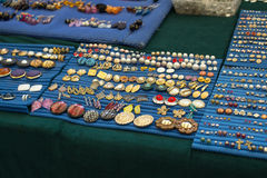 Accessories on sale in a flea market Stock Photography