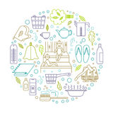3b. Accessories for sauna and bath. Vector illustration. Line style Stock Photography