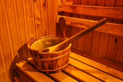 Accessories in sauna room. At spa club Stock Images
