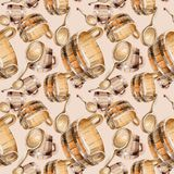 Accessories of sauna and spa illustration. Seamless background pattern. Fabric wallpaper print texture. Steam relaxation bath wellness set. Heat water and Royalty Free Stock Photos