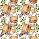 Accessories of sauna and spa illustration. Seamless background pattern. Fabric wallpaper print texture. Steam relaxation bath wellness set. Heat water and Royalty Free Stock Images