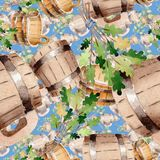 Accessories of sauna and spa illustration. Seamless background pattern. Fabric wallpaper print texture. Steam relaxation bath wellness set. Heat water and Stock Image