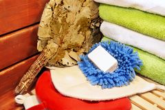 Accessories for sauna, XXXL. Accessories for sauna and bath (towels, hats, soap, oak broom and washcloths Royalty Free Stock Photos