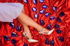 Accessories scattered from a handbag between the woman`s legs. Lady stock images