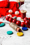 Accessories seamstress and needlework items Stock Image